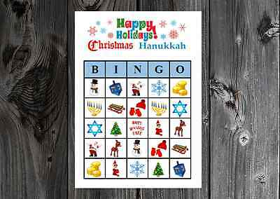 Christmas Bingo Game Cards (Christmas Hanukkah Happy Holiday Party Game Bingo Cards on Card Stock)