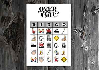 50th Birthday Games (Over the Hill 40th 50th 60th Birthday Party Game Bingo on Card Stock)