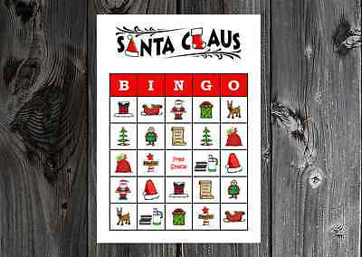 Santa Claus Christmas Party Game Bingo Cards on Card Stock 10/20/30ct