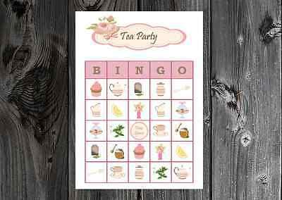 Tea Party Girl Birthday / Bridal Party Game Bingo Cards on Card Stock 10/20/30ct](Wedding Bingo)