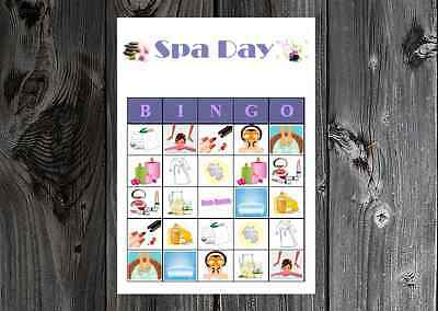 Spa Day Diva Birthday / Bridal Party Game Bingo on Card Stock - Bridal Bingo