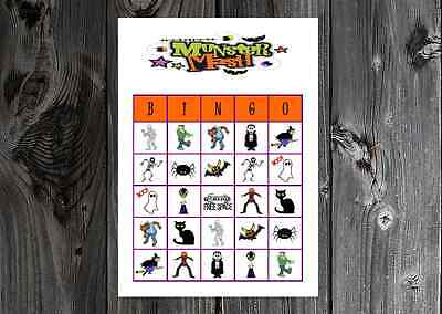 Halloween Monster Mash Holiday Party Game Printable Bingo Cards (Halloween Bingo Games Printable)