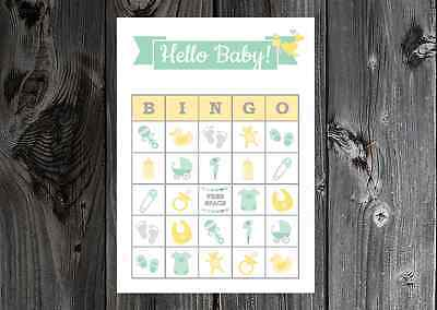 Baby Shower Party Game Neutral Green Yellow Bingo Cards on Card Stock 10/20/30ct (Baby Shower Bingo Cards)