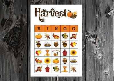 Games On Halloween Party (Harvest Fall Thanksgiving Halloween Party Game Bingo on Card Stock)