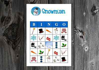 Christmas Bingo Game Cards (Snowman Winter Christmas Holiday Party Game Bingo Cards on Card Stock)