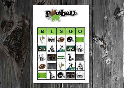 Football Sports Birthday / Super Bowl Party Game Bingo on Card Stock 10/20/30ct](Football Birthday Games)