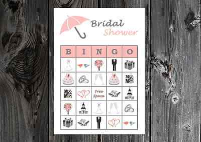 Bridal Shower / Wedding Party Game Bingo Cards on Card Stock - Bridal Bingo