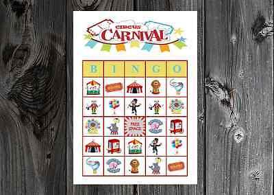 Circus Carnival Birthday Party Game Printable Bingo Cards