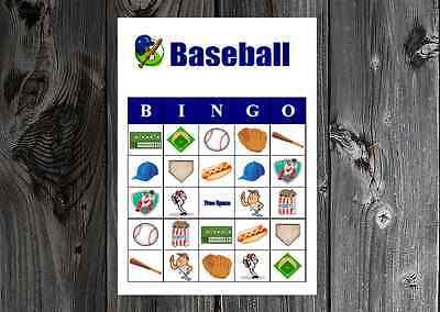 Baseball Sports Birthday Party Game Printable Bingo Cards - Sports Birthday