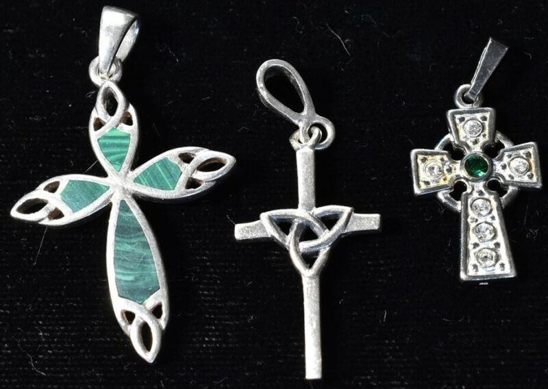 3 Celtic Sterling Crosses 1 1/8