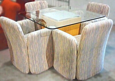 Glass Top Dinette Dining Set Table 4 Chairs Armchairs Mirror Mid Century Modern ()