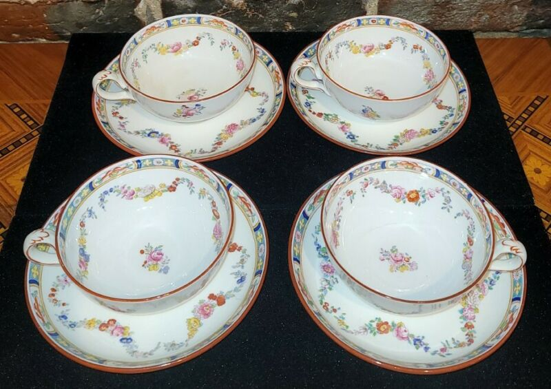 SET OF 4 Minton China Rose Floral Swags Tea/Coffee Cup & Saucer