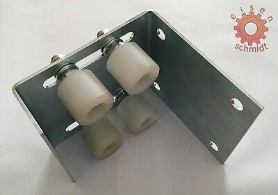 Führungsbock 4 Kunststoff Laufrollen 27mm verzinkt Scheunentor Tor 0-72mm   0002