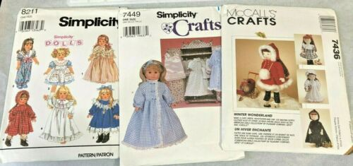 3 Doll Clothes Patterns for 18 in Dolls McCalls 7436 Simplicity 8211 7449 Uncut