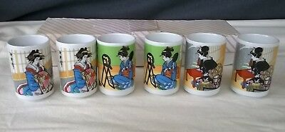 VINTAGE SET OF SIX JAPANESE HAND PAINTED TEA CUPS IN ORIGINAL BOX ~ GEISHA GIRLs