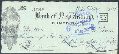 BANK of NEW ZEALAND DUNEDIN MAORI VIGNETTE 1934 CHECK