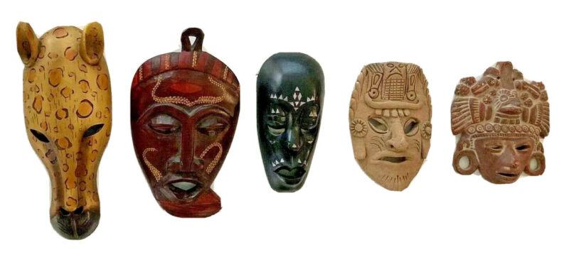 Various Masks  Wall Sculptures: Set of 5