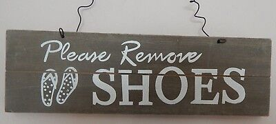 """/""""Please Remove Your Shoes Thank You!/"""" polite Hanging Door Sign Wood Porch Gift"""
