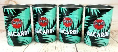 Bacardi Sound of Rum Tin Can Cups Set of 4 Palm Leaves Bat Logo Bar Advertising