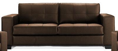 Leder Sitzgarnitur Sofa (Madelaine 3-Sitzer Polstergarnitur Sitzgarnitur Kunstleder Couch Sofa Braun)