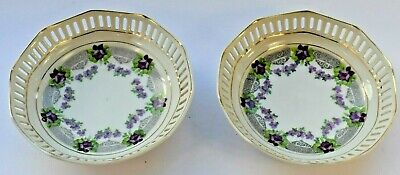 Antique Vintage Schumann Purple Pin Dish Ring Tray 12cm in diameter Set of 2