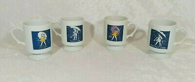 Vintage Morton Salt Umbrella Girl Pedestal Footed Mugs Cups Set of 4