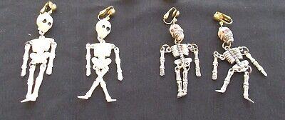 """Vintage 2 Pairs of Costume Jewelry -Plastic Halloween Clip Earrings -""""Skeletons"""""""