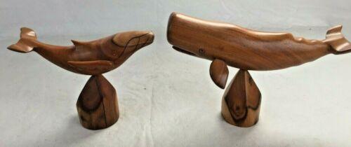 Set of (2) Vintage Hawaiian Milo Wood Hand Carved Whale Figure Statues