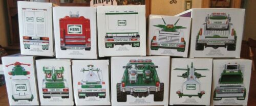 HUGE LOT OF 11 HESS TOY TRUCK SERIES~VARY 2001-2013~HELICOPTER~RACECAR~MONSTER~