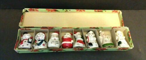 Commodore 8 Vintage Ceramic Christmas Place Card Holders in Original Box Japan
