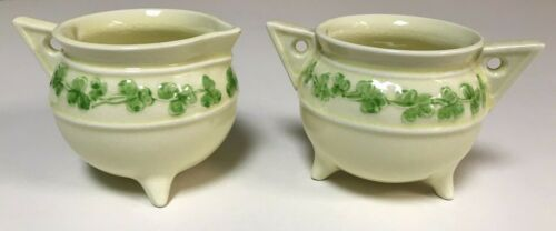 Vintage Sylva C Ceramics SET Creamer & Sugar Bowl CLOVER Staffordshire