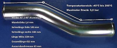 Ansaugrohr Alu Aluminiumrohr 63 mm  Ladeluftrohr Turbo Boot Bogen 45° / 45° NEU