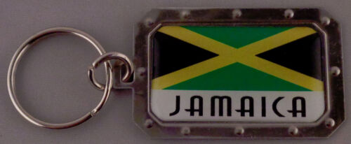 JAMAICA Jamaican Flag Metal Key Ring DOMED IMAGE made in USA