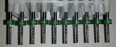 Set Of Ten 10 332 .0938 Carbide 2 Flute Endmills - Cnc Dremel Router Bits