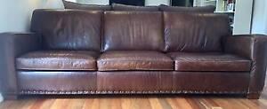 Brown Leather 3 1/2 seater sofa North Turramurra Ku-ring-gai Area Preview