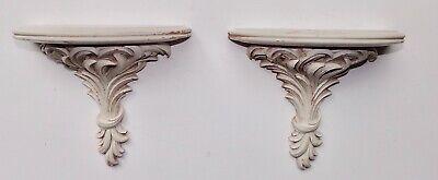 Pair Vintage Carved Wood Wall Shelf / Sconce - Ornate Design. White.