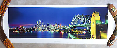 100x35cm Poster Sydney Australien Hafen Oper Harbour Bridge Nacht (Sydney Harbour Bridge Poster)