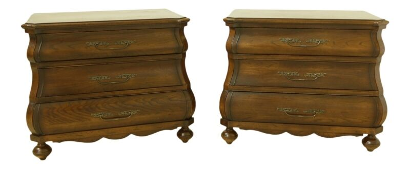 51802EC: Pair Continental Style Bombe Front Oak Nightstands