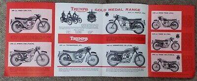 Triumph 650 Bonneville Trophy T110 3TA Cub 1963-64 Original Old Stock Brochure