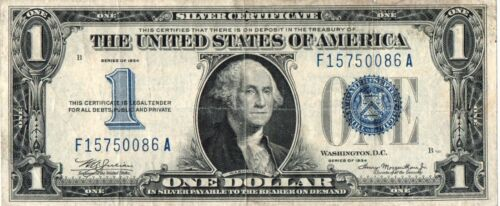 1934 $1.00 United States Silver Certificate - FR1606 - F15750086A - VF/XF