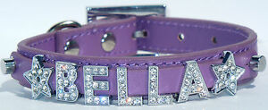 PERSONALISED DOG/PETS NAME COLLAR, BLING RHINESTONE,UP TO 8 LETTERS/CHARMS FREE