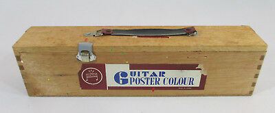 RARE Vintage GUITAR POSTER COLOUR Wood Paint Storage Box Container Japan Case - Poster Storage Box