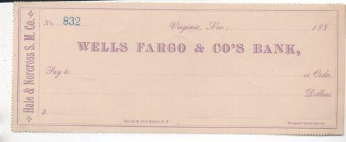 1880s Bank Check from Wells Fargo & Company Virginia City Nevada Hale & Norcross