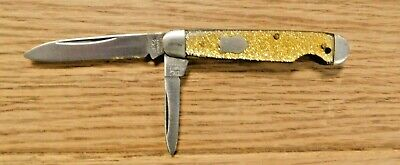 Pre-War Utica Cutlery Co. N.Y., Easy Open Folding Jack Knife, Gold Flecks Handle