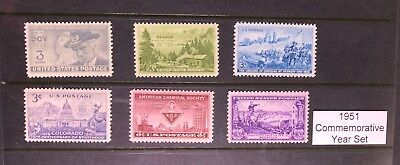 1951 US Commemorative Year Set (Complete) #998-1003, MNH  FREE SHIPPING