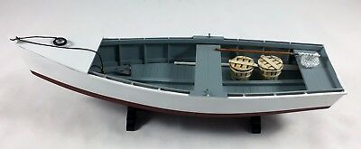 Wooden Skiff Boat Model, Rowboat, with Oars and Crabbing Accessories