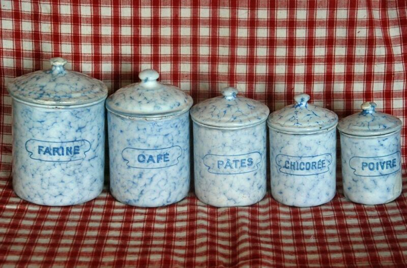 BLUE FRENCH CANISTER SET ~ BB ANTIQUE ENAMEL WARE ~ VINTAGE GRANITEWARE