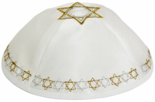 White Satin Kippah with Gold & Silver Star of David - Jewish Yamaka Hat