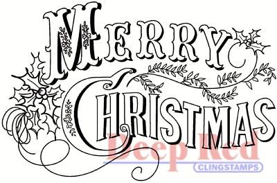Deep Red Cling Stamp 3X2-Vintage Merry Christmas