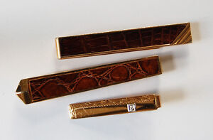 VINTAGE 3 TIE CLIPS ALLIGATOR LIZARD GOLD ETCHED RHINESTONE MENS JEWELRY SWANK